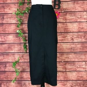 Liz Claiborne Skirt 14 Long Black Straight Stretch